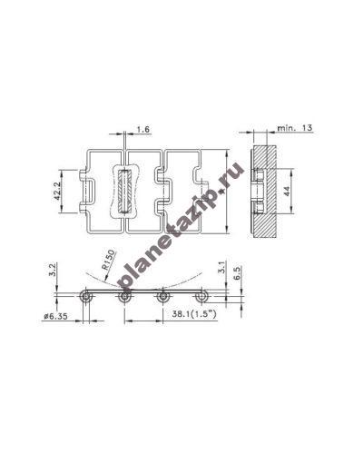 ssc 812 k750 1 400x500 - Цепь пластинчатая нержавеющая SSC 812-K750 190,5мм 10.006.21.16 (SSC812750)