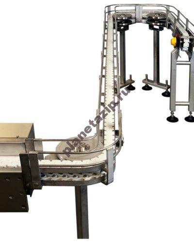 Stainless steel biplanar conveyor 2 400x500 - Конвейер ящичный