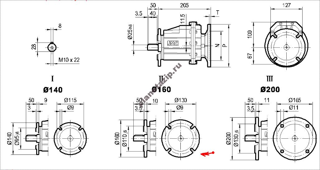 chertezh 02 - Мотор-редуктор TRC 02-7,39-378,8-B3-2,2-53,8-380-50 (2Р) sf=1,76