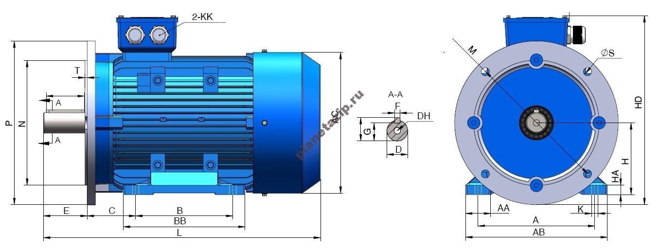 gl b35 - Электродвигатель асинхронный трехфазный GL63M1-4