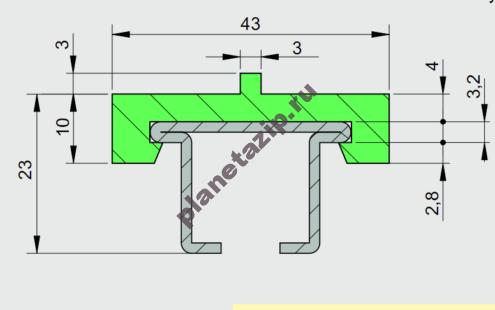 Профиль ограждения с металлом 43X10 AVE P20285