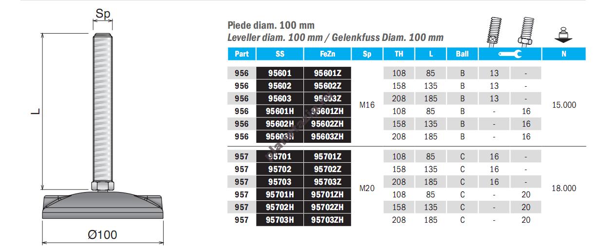 izobrazhenie 2021 08 06 145144 - Опора шарнирная  D100 M16 L185 SS 95603
