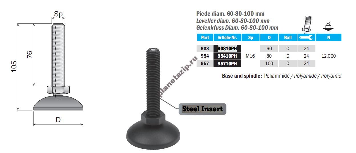 izobrazhenie 2021 08 06 155051 - Опора шарнирная пластиковая D60 M16 L80/105  P90810PH