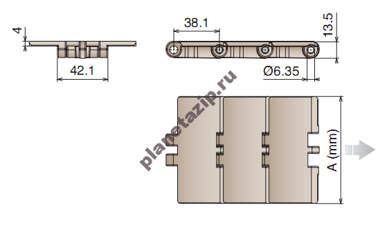 izobrazhenie 2021 08 07 095105 - Цепь конвейерная пластиковая прямоидущая MWX820K330 11011703